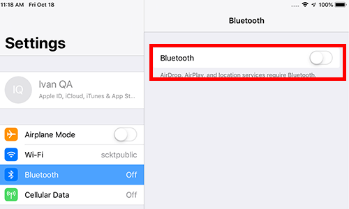 iOS Bluetooth is OFF